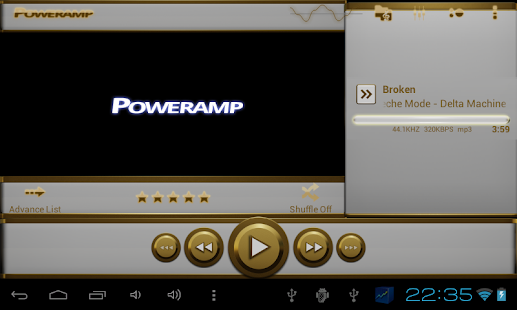 eleganze Poweramp Haut weiß Screenshot