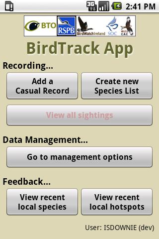 BirdTrack - screenshot
