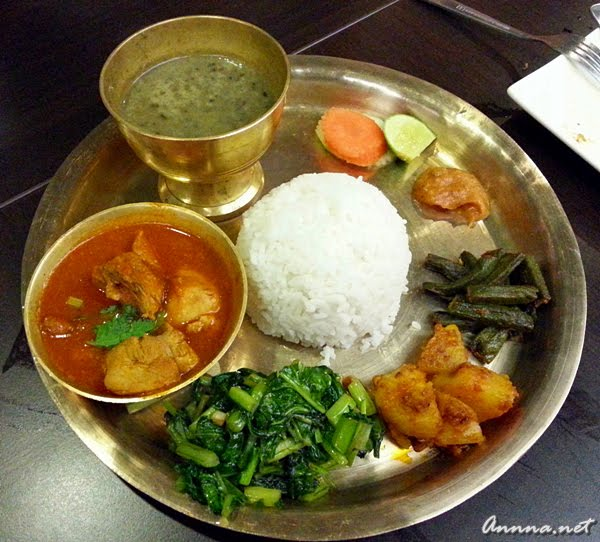 Thakali Thali Khana Kukhurako Masu Bhat @ Restaurant Nepal