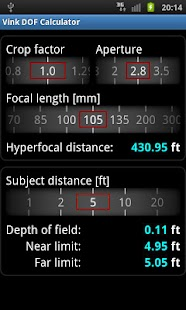 Vink DOF Calculator- screenshot thumbnail