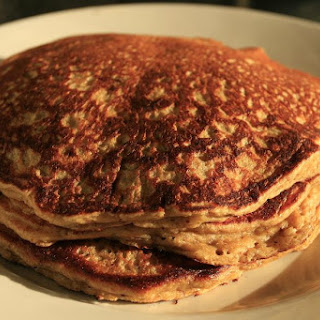 Gluten-free Lofty Banana Pancakes with Cinnamon and Flax.