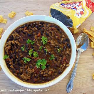 Healthy Lentil, Black Bean & Chicken Chili.