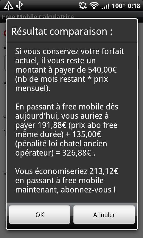 Free Mobile Calculatrice - screenshot