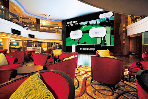 Head to Norwegian Epic's Wii Wall, where you can play interactive games or watch movies on a two-story Wii screen.