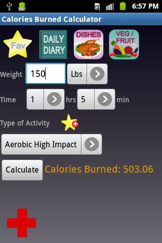 Calories Burned Calculator - screenshot