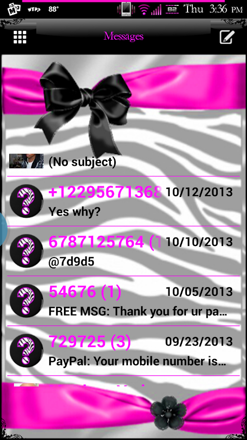 Zebra Love GO SMS Pro Theme - screenshot