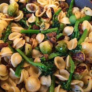 Orecchiette with Italian Sausage, Broccolini & Brussel Sprouts