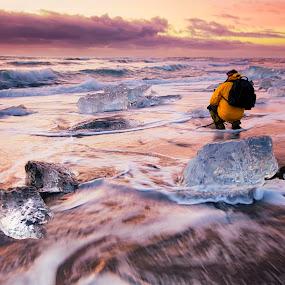 The Battle Between by Cheah Nz - Landscapes Beaches ( iceland, cheah, nz, sunrise, beach )