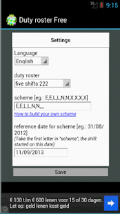 Dutyroster Shiftcalendar Free - screenshot thumbnail