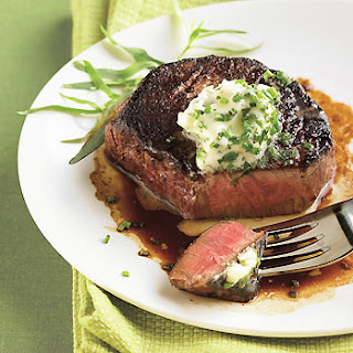Porcini-Crusted Filet Mignon with Fresh Herb Butter.