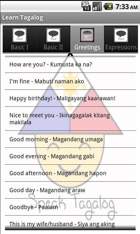 Learn Tagalog- screenshot