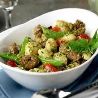 Creamy Pesto Gnocchi with Italian Sausage.