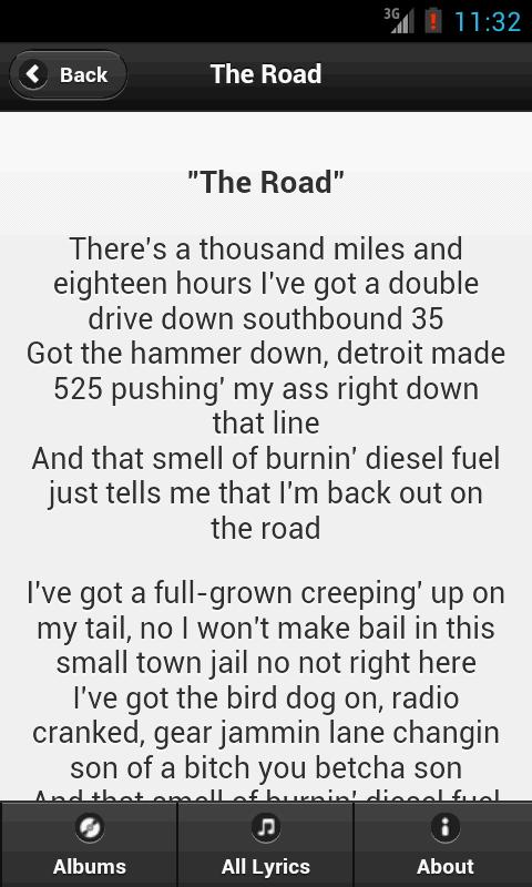 Handy Lyrics - Aaron Lewis - screenshot