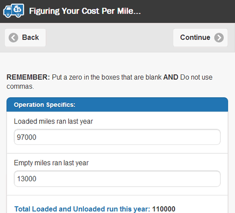 Cost Per Mile- screenshot