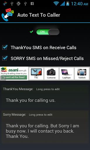 Auto Text To Caller