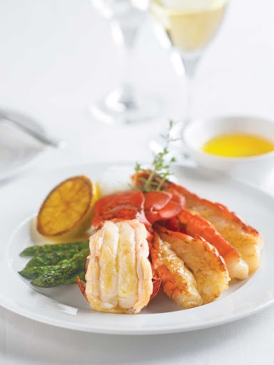 Lobster-tail-dish - A  broiled Lobster Tail and King Prawns dish straight from the Princess Cruises kitchen.
