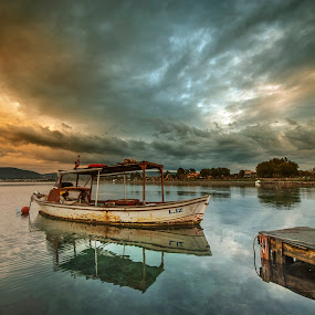 by Enver Karanfil - Transportation Boats ( sunset, sea, boat,  )