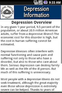 NIH Depression Information- screenshot thumbnail