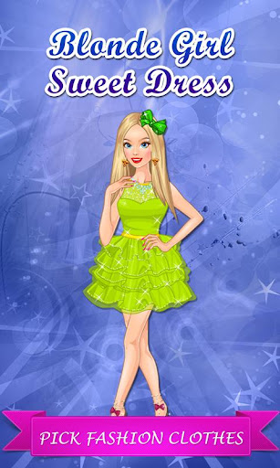 Cute Blonde Girl Sweet Dress