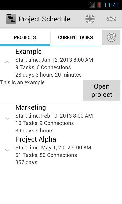Project Schedule- screenshot