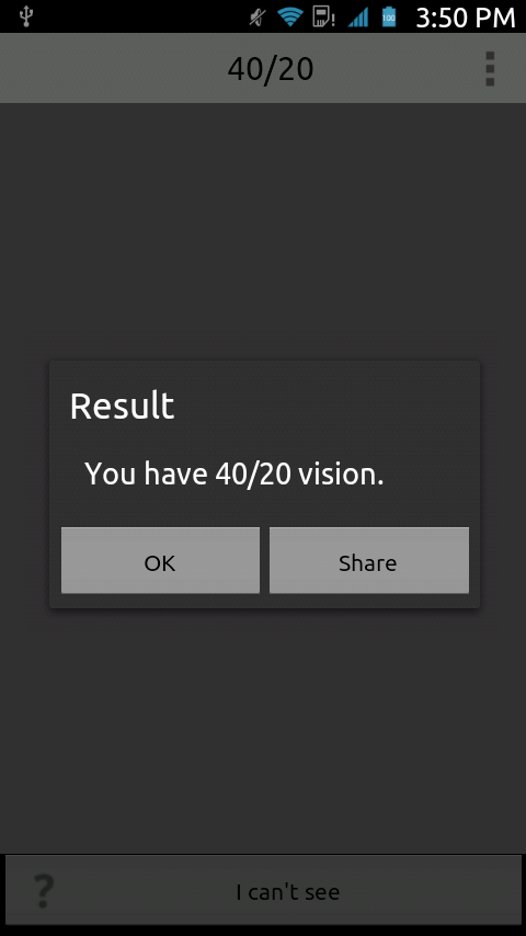 Visual Acuity Test- screenshot