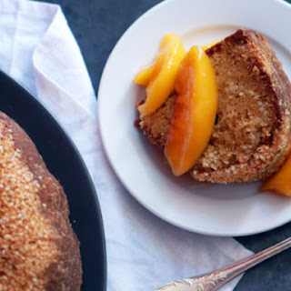 Orange Blossom-Sesame Cake with Peaches