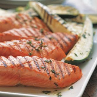 Grilled Salmon with Zucchini.