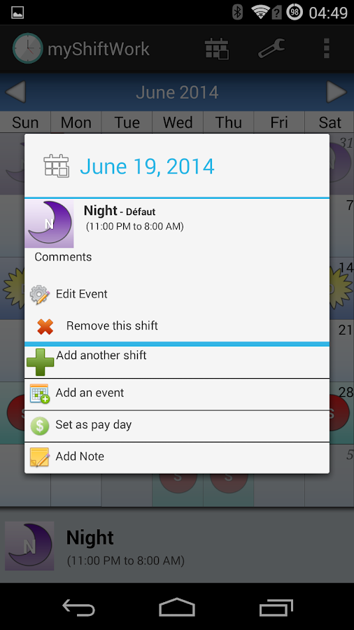 Shift Work Scheduling Calendar- screenshot