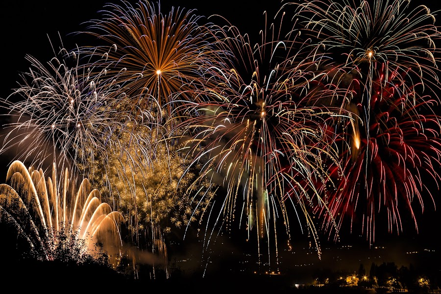 fireworks by Gianluca Pisano - Public Holidays New Year's Eve ( colorful, firework, show, pyrotechnical, sky, happy, dark, festival, year, flowers, celebrate, light, black, isolated, beautiful, art, white, fire, new, explosion, background, fireworks, night, celebration, years, golden )