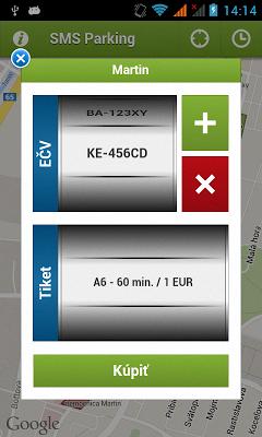 SMS parkovaci listok - screenshot