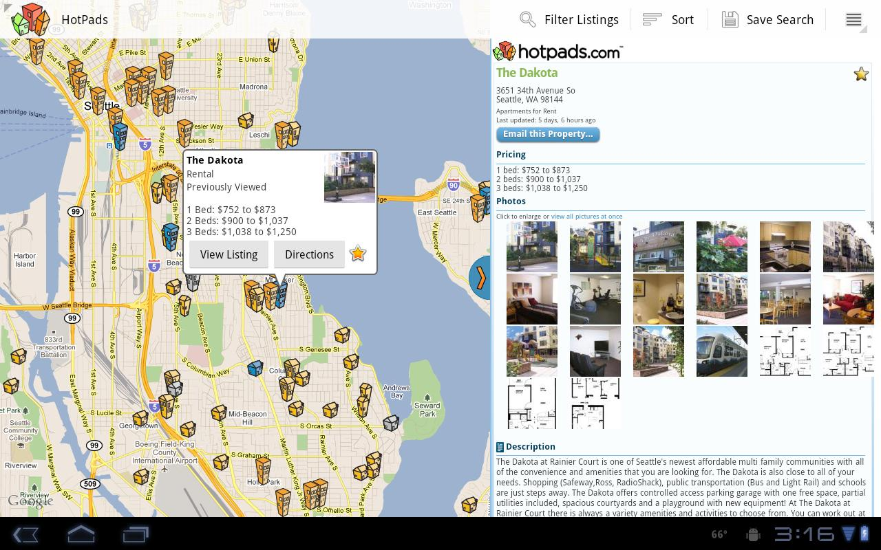HotPads Rentals Tablet App - screenshot