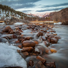 Big Thompson River in Moraine Park by David Andrus - Landscapes Waterscapes ( estes park, colorado, big thompson river, rocky mountain national park, moraine park, , relax, tranquil, relaxing, tranquility )