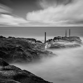 All that Remains  by Michelle Denniston - Landscapes Waterscapes ( blackandwhite, fineart, moody, seascape, longexposure, new zealand,  )