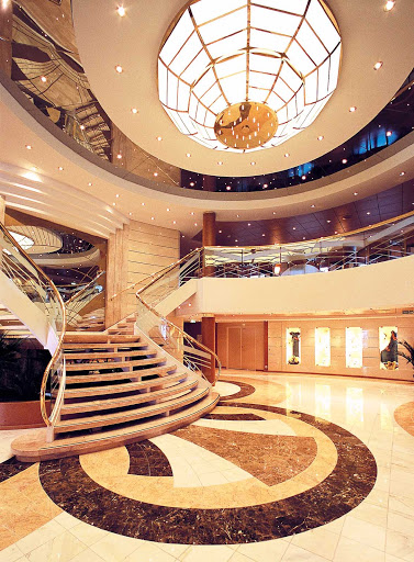 MSC-Opera-atrium - The understated, elegant atrium on MSC Opera, where the reception area is the first stop on your voyage to your chosen destination.