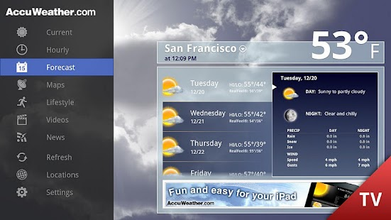 AccuWeather for Google TV - screenshot thumbnail