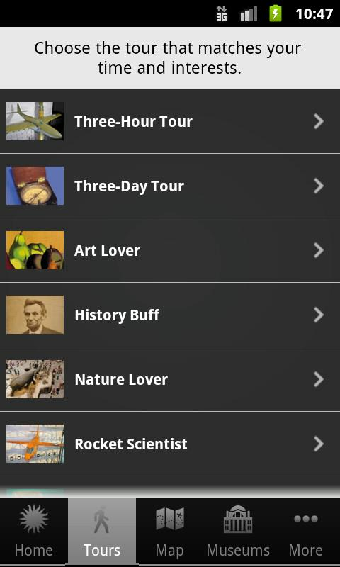 Smithsonian VisitorGuide/Tours - screenshot