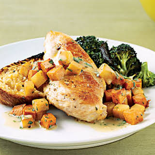 Sautéed Chicken with Sweet Potatoes and Pears.