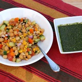 """Wildfire"" chaat - Indian chickpea salad with mint chutney."