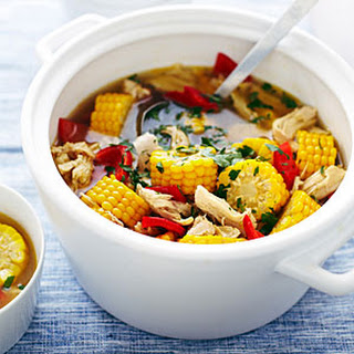 Peruvian-Style Corn, Pepper, and Chicken Soup.