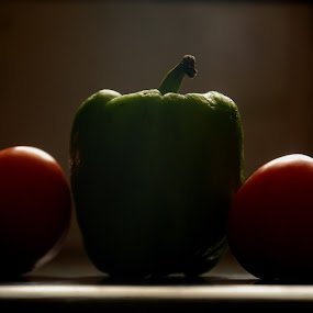 two on one by Shashank Sharma - Food & Drink Fruits & Vegetables ( window, shimla chilly, vegetables, tamato, light )