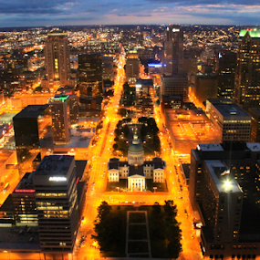Night View from the Gateway Arch by J.c. Phelps - Buildings & Architecture Public & Historical ( street, gateway arch, cityscape, st. louis, capital, nightscape )