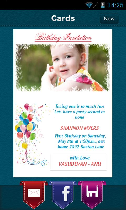 Create Birthday Invitation - screenshot