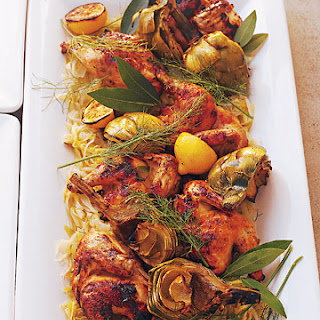 Grilled Coriander-Pepper Poussins with Leeks and Fennel Recipe