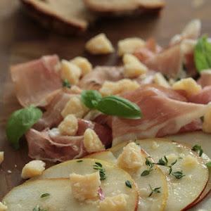 Pear Carpaccio with Thyme, Parma Ham, Parmesan