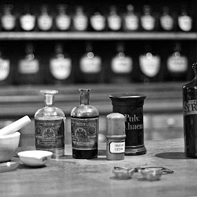 Old Chemist's Shop. by Astrid Panitz - Black & White Objects & Still Life