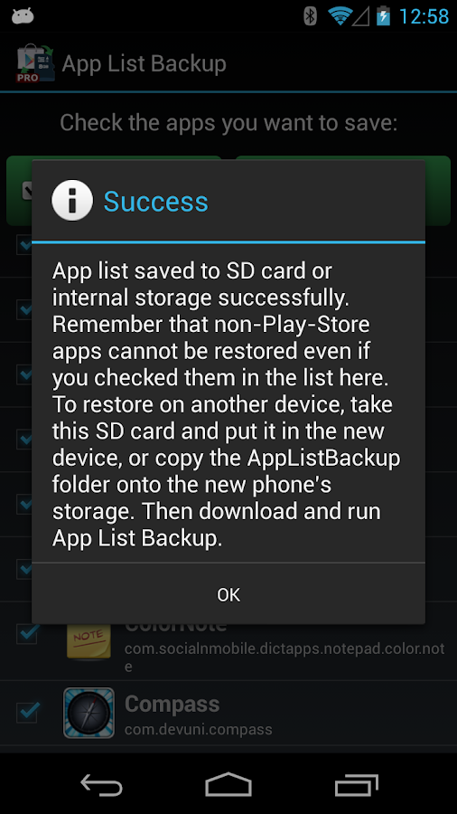 App List Backup - screenshot