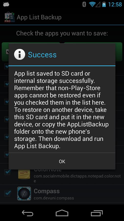 App List Backup - screenshot