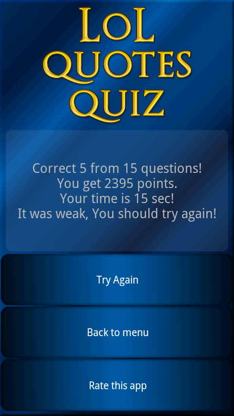 LoL Quotes Quiz - screenshot