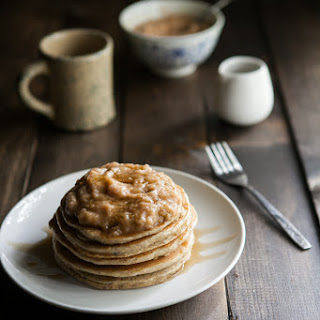 Hazelnut Pancakes with Roasted Rhubarb Cardamom Compote