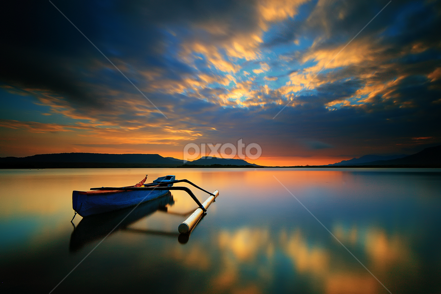 Jukung in Sunrise by Gus Mang Ming - Landscapes Sunsets & Sunrises ( , serenity, blue, mood, factory, charity, autism, light, awareness, lighting, bulbs, LIUB, april 2nd )